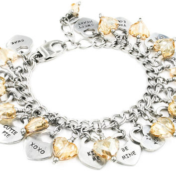 Valentines Day Bracelet, Heart Charm Bracelet, Crystal Hearts, Valentines Day Gift, Silver and Gold Bracelet, Anniversary Gift