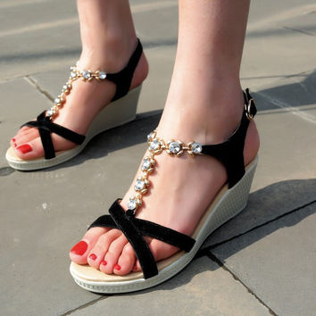 Genuine Leather Rhinestone Platform Wedge Sandals 9271