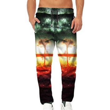 Men 3D Printed Tree Overalls Casual Pocket Sport Work Casual Trouser Pants