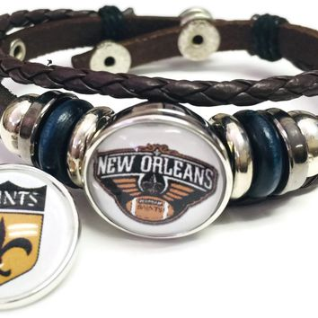 New Orleans Saints Shield And Logo Bracelet NFL Football Fan Team Spirit Brown Leather W/2 18MM - 20MM Snap Charms New Item
