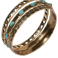 Lucky Brand Gold-Tone Turquoise Accent and Cutout Bangle Bracelet Set