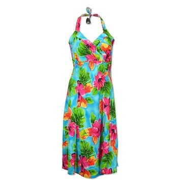 0c34013d2fe hoopla blue hawaiian napali halter dress