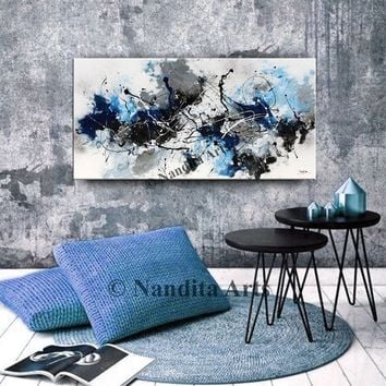 Blue Wall Decor Abstract Minimalist Ocean Blue Original painting, Black Wall Art, Large artwork for office or home decor by Nandita Albright