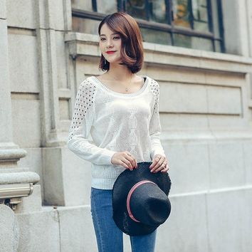 Pure Color 2017 Autumn/Spring Hot Sale Sweet Style Turtleneck  Knitted Sweater Women  Bow Tie Dewy Back Hollow Out  Pullovers