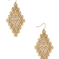 FOREVER 21 Cool Floral Link Drop Earrings Gold/Clear One