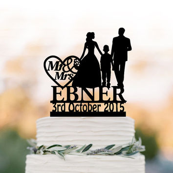 Family Wedding Cake topper with boy, bride and groom silhouette personalized wedding cake toppers name, funny wedding cake toppers with date