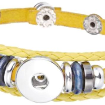 Yellow With Blue Beads DIY Leather Bracelet Multiple Colors for 18MM - 20MM Snap Jewelry Build Your Own Unique