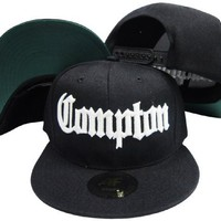 Compton Old English Black Adjustable Snapback Hat / Cap