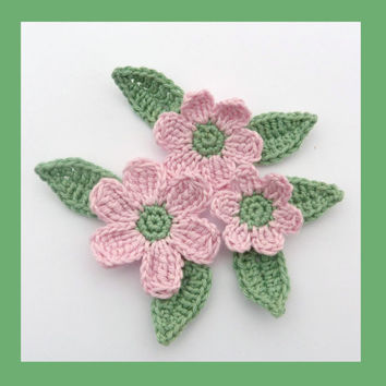 3 crochet flowers and 6 leaves, appliques and embellishments