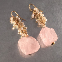 Quartz Earrings, Pink Quartz Earrings, Dangle Earrings, Bohemian Earrings