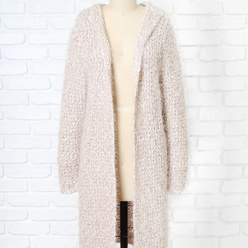 Beige Hooded Knit Cardigan | NRFB