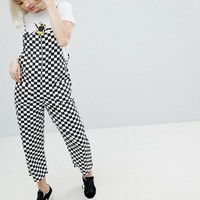 Monki Checker Board Overalls at asos.com