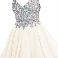 White A-Line Crystal Homecoming Dress,Straps V-Neck Chiffon Homecoming Dresses