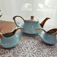 Pearl China Co. 1940s Teapot, Sugar, and Creamer with 22K Gold Trim