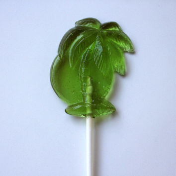 12 Beach Wedding PALM TREE Favors Barley Sugar Lollipops Birthday Party Favors Summer Party Hawaiian luau