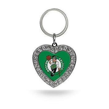 Rico Industries NBA Boston Celtics Rhinestone Heart Keychain