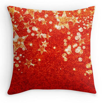 Christmas Pillow, Gold and Red Stars Scatter Cushion, 16x16, Xmas Decor, Red and Gold Cushion Cover