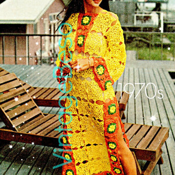 Caftan Crochet Pattern 70s See Through Crochet Pattern Dress Crochet Pattern CoverUp Crochet Pattern Vintage Beso Instant PDF Cover Up