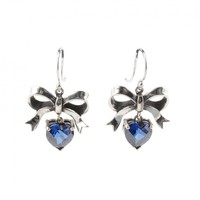 BOW AND HANGING HEART EARRINGS - Earrings - Metal - Jewellery