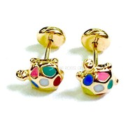 Turtle Earrings Screw back Studs  18Kts of Gold Plated