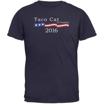 LMFCY8 Election 2016 Taco Cat President Logo Funny Navy Adult T-Shirt