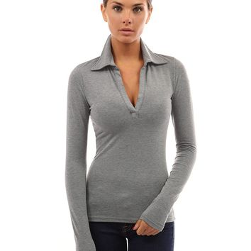 VNeck Basic Top with Collar