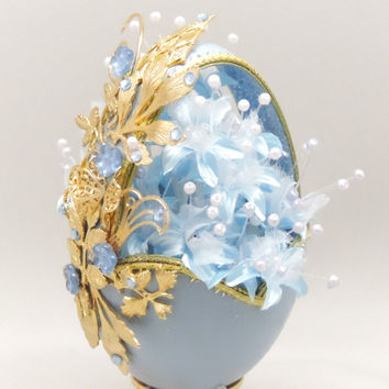 Blue Floral Spring Basket Mothers Day Gift Idea Home Decor Easter Basket Egg Ornament Faberge Style Decorated Goose Egg Art