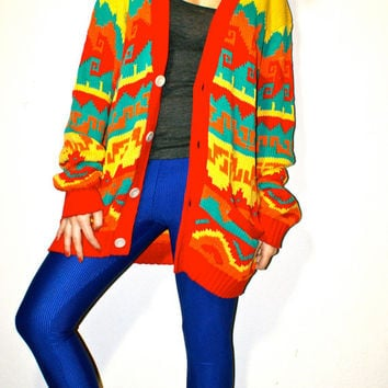 RESERVED FOR NIKKI: Vintage Southwestern Tribal Print Bill Cosby Oversized Cardigan Sweater L