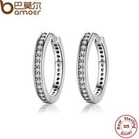 BAMOER 925 Sterling Silver Cubic Zirconia Simple Item Female Hoop Earrings Jewelry for Women Sterling-Silver-Jewelry PAS456