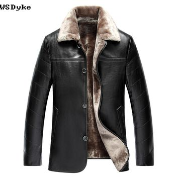 Casual Thick Turn Down Collar Men Winter Leather Jacket