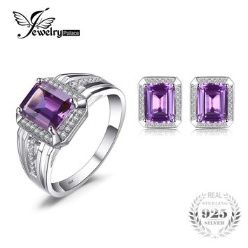 Jewelrypalace Emerald Cut Fashion Alexandrite Men's Cufflink Ring Jewelry Set 925 Sterling Silver Ring Men's Bridal Fine Jewelry