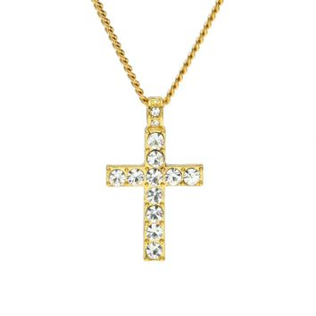 Drop Shipping Hip Hop Alloy Cross Pendant Necklace Iced Out Rhinestone Gold Silver Tone Crucifix Chain Charm Jewelry