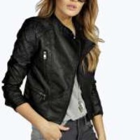 Virginia Leather Look Biker Jacket