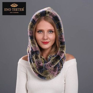 Winter Women Fur Scarves Muti Color Natural Knitted Rex Rabbit Fur Shawls Real Fur Poncho Hooded Scarves