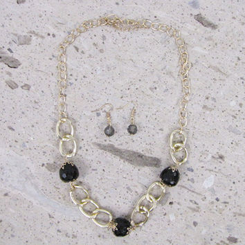 Marysol Black Ornamental Beads Gold Tone Necklace & Earring Set