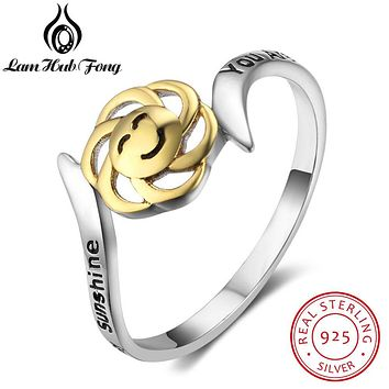 """925 Sterling Silver Flower Ring Smile """"You Are My Sunshine, My Only Sunshine"""" Letter Engraved Rings Gift For Women(Lam Hub Fong)"""