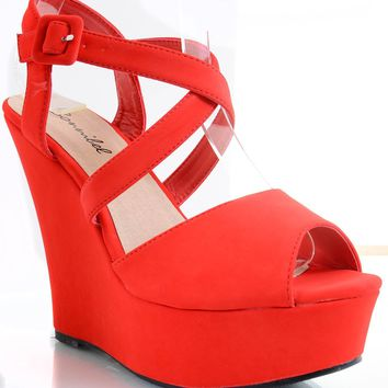 Red Strappy Criss Cross Wedge Platform Sandal