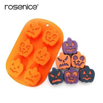 ROSENICE Unique 6-Holes Halloween Pumpkin Shaped Soft Silicone DIY Cupcake Chocolate Jelly Baking Mold Mould Ice Cube Tray