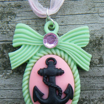 Kawaii Anchor Lolita Necklace on Organza ribbon with silver findings. Cute pink and black anchor necklace. ON SALE WAS 15.00