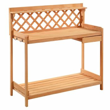Potting Bench Outdoor Garden Work Bench Station Planting Solid Wood Construction GT2882
