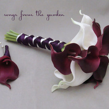 Bridesmaid Bouquet Groomsman Boutonniere Real Touch Calla Lily Plum Purple White Plum Ribbon Choose Your Wedding Colors