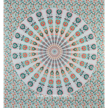 White Multicolored Peafowl Hippie Mandala Beach Throw Tapestry Bedspread on RoyalFurnish.com