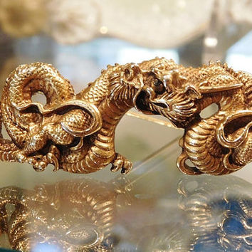 ALVA Museum Replica Golden Dragon Brooch Menuki Japanese Serpentine Vintage Mid Century 1960s Asian Oriental Jewelry Game of Thrones