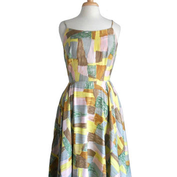 Vintage Summer Dress 1950s Patchwork Print Fabric Spaghetti Strap Design Tank Dress - Fit and Flare - Green Pink Brown and Yellow XS/S