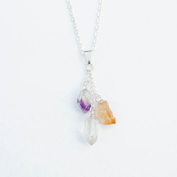 Trio Crystal Quartz Point Citrine and Amethyst Necklace