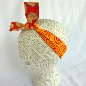 Reversible HeadWrap - Reversible Head Wrap - Size Baby to Adult - Knot Headband - Tie Bow Headband - Yellow Orange Red - 1 1/2 inch headband