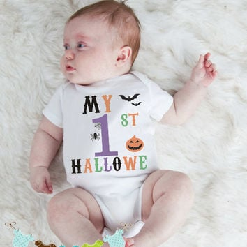 East Knitting K390 Newborn Baby's My First 1st Halloween Funny Print Infant Rompers Baby Boys Girls Take Home Outfit