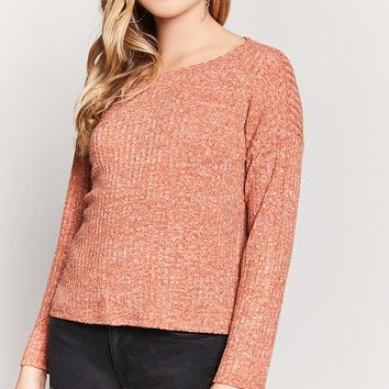 Ribbed Marled Knit Top