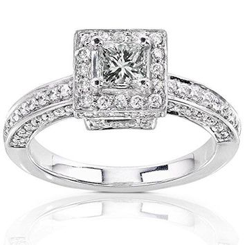 1 Carat (ctw) Princess Cut Diamond Engagement Ring in 14K Gold