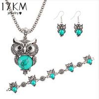 Silver Plated Owl Jewelry Set with Faux Turquoise